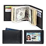 amelleon Men's RFID Blocking Leather Wallet - Front Pocket Bifold Wallet With USD Money Clip (Black)
