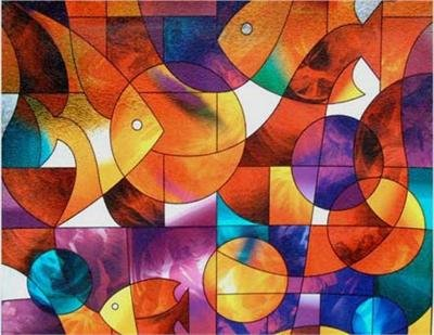 Fish Stained Glass, Decorative, Privacy, Window Film - (36