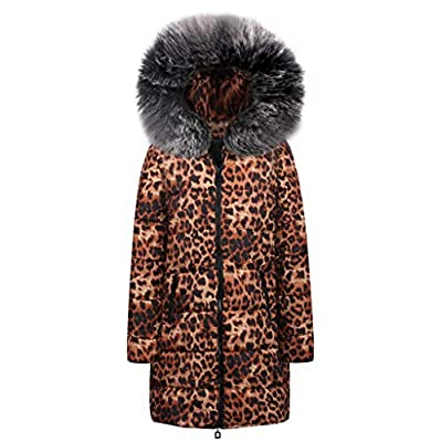 AOJIAN Women Jacket Long Sleeve Outwear Hooded Leopard Print Parka Down Overcoat Sweaters Cardigan Coat