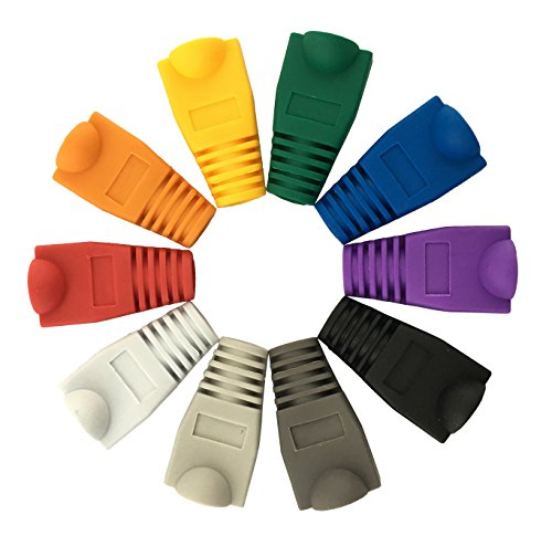 Accessbuy Soft Plastic CAT5E CAT6 Ethernet RJ45 Cable Connector Boots Plug Cover Strain Relief Boots Multicolor 100 Pcs 2 The RJ45 boots cover protects RJ45 connectors from dust and Oxidation extending the RJ plug's life time. Size: 2.7*1.5*1.6cm Multiple color for your options-white, gray, red, black, purple, blue, green, yellow, orange, dark gray.