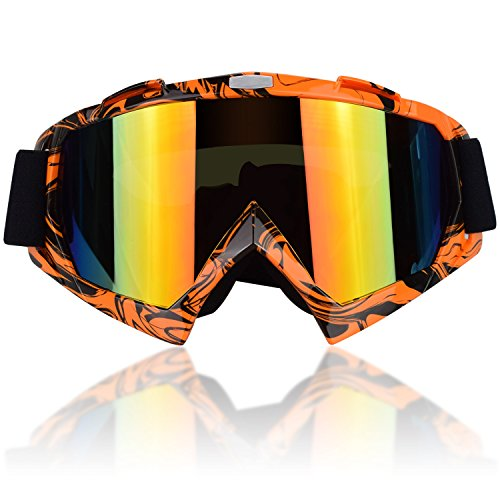 CarBoss Motorcycle Helmet Motocross Goggles Dirt Bike Cycling ATV Racing Safety Sunglasses for Men, Women, Youth - Fitsover Glasses Ski Snowboard Goggles - 100% UV Protective Outdoor Tactical - Orange Goggles