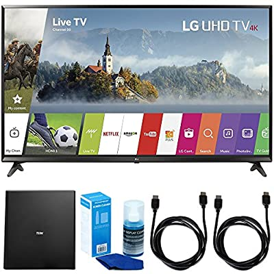 "LG 49UJ6300 49"" UHD 4K HDR Smart LED TV (2017 Model) w/ Indoor Antenna Bundle Includes, Terk Indoor Flat 4K HDTV Multi-Directional Antenna, 2x 6ft HDMI Cable and LED TV Screen Cleaner"