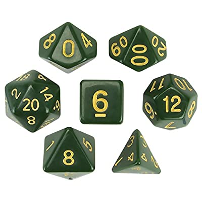 Wiz Dice Blighted Grove Set of 7 Polyhedral Dice, Solid Hunter Green Tabletop RPG Dice with Clear Display Box: Toys & Games