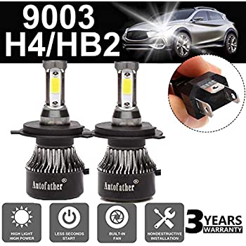 Ultra H4 LED Headlight Bulbs All-in-One Conversion Kit - 9003/HB2 Hi/Lo Beam -24000LM 6000K Super Cool White IP68 4 Sides COB Chips Automotive Headlamp 2 ...