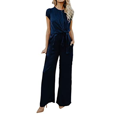 4d18297301f Juleya Women s Short Sleeve Jumpsuit - Elegant Knot Solid Color Long  Jumpsuits with Pockets Casual Party