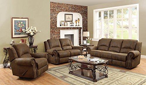 Coaster Home Furnishings 650152 Casual Motion Loveseat, Brown - Brown Microfiber Seat
