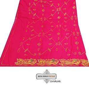 """bordado metálico mezcla de seda artesanal dupatta vendimia tela del georgette de la decoración del hogar magenta utilizado cortina cubra coser sari larga estola mujeres indígenas envuelven el vestido hecho a mano de tela velo hijab reciclado 90 """"x 60 """""""