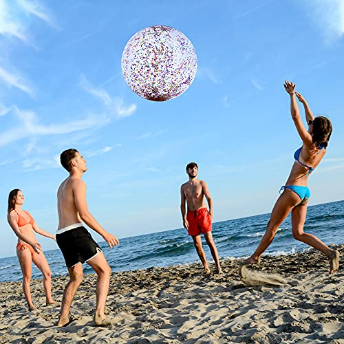 16 Inch Inflateable Glitter Beach Ball Sequin Beach Ball Pool Water Fun Toys for Kids Summer Parties Pool Party Favors