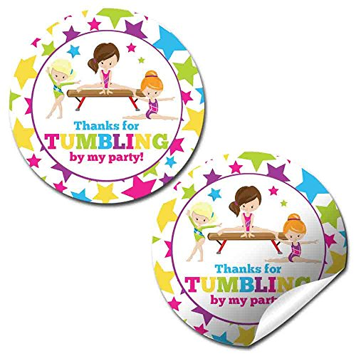 Gymnastics & Tumbling Birthday Party Thank You Sticker Labels, 40 2 Party Circle Stickers by AmandaCreation, Great for Party Favors, Envelope Seals & Goodie Bags