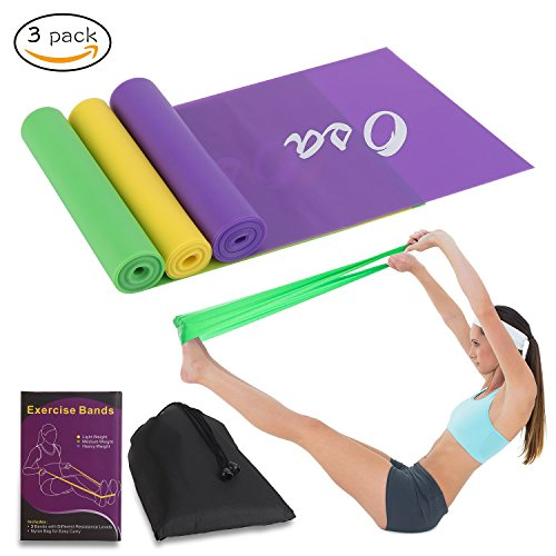 OSA Flat Exercise Band Set of 3, Flat Resistance bands, Non-Latex Elastic Bands for Physical Therapy, Sport, Pilates, Stretch, Yoga, Strength Training by OSA