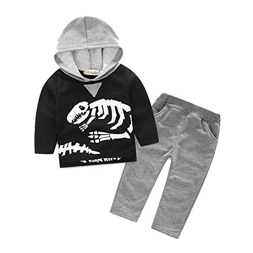 Merida's Little Brothers Costume (Uudora Boy's Skeleton Dinosaurs Hooded sportswear Casual Long Sleeves T-Shirts Hoodies Suit)