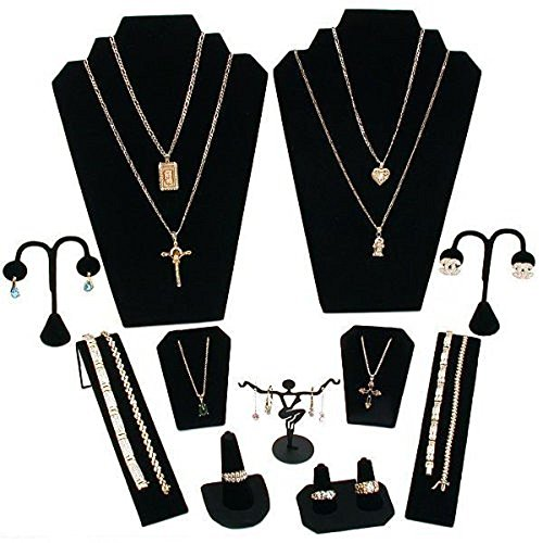 11-Pc-Set-Black-Velvet-Jewelry-Displays-Busts-Bonus-New