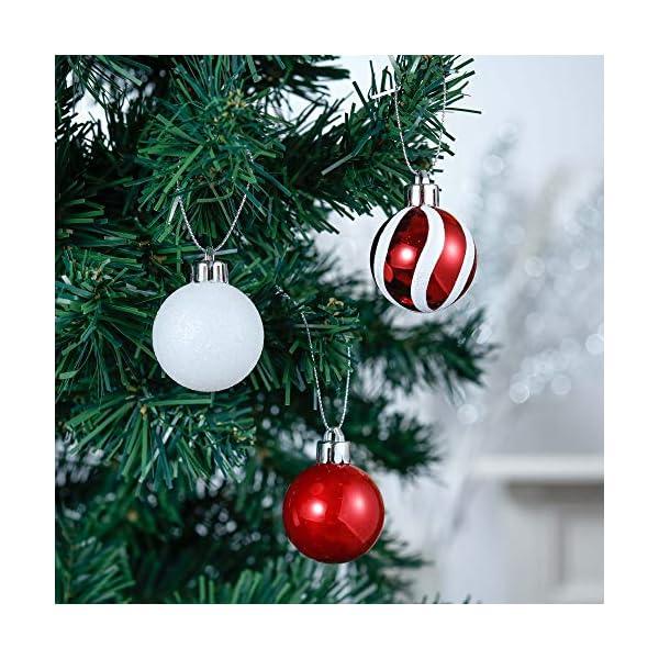 Valery Madelyn Palle di Natale 40 Pezzi 4 cm Palline di Natale, Decorazioni Tradizionali Rosse e Bianche Infrangibili con Palle di Natale per Decorazioni per Alberi di Natale 4 spesavip