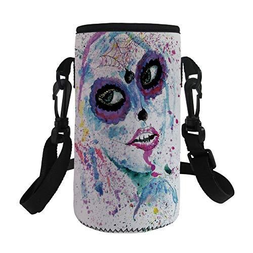 Small Water Bottle Sleeve Neoprene Bottle Cover,Girls,Grunge Halloween