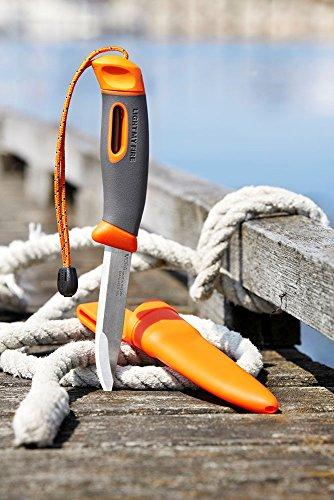 Light My Fire Swedish FireKnife Fixed Blade Knife with 9.5 cm (3.75 Inch) Sandvik Stainless Steel Blade and Swedish FireSteel Fire Starter, Orange by Light my Fire (Image #2)