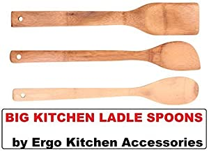 Wooden Spoons & Wooden Ladle for Cooking - Premium Quality Cooking Utensils by Ergo Kitchen Accessories