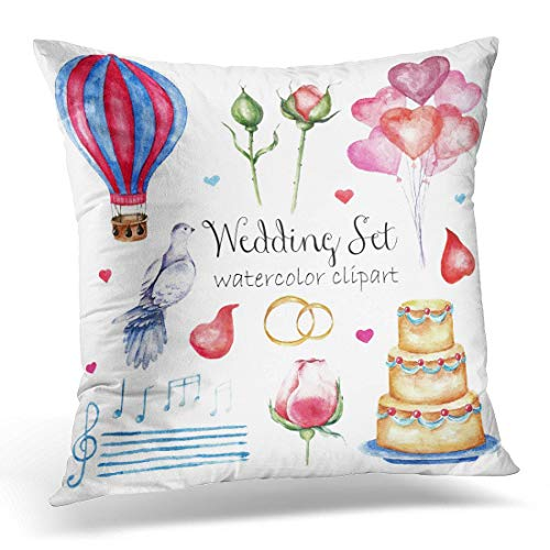 Krui-LR Throw Pillow Covers Watercolor Modern Elegant Wedding Various Objects Roses Petals Naked Cake Air Balloons Dove Stave Notes Decorative Pillow Case Home Decor Square 18W X 18L Pillowcase