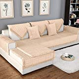 OstepDecor Couch Cover, Sofa Cover, Quilted Sectional Couch Covers, Velvet Sofa Slipcover for Dogs Cats Pet Love Seat Recliner Leather L Shaped, Armrest Backrest Cover, Beige 36 x 36 Inches