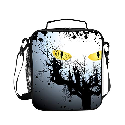 Halloween Scary Eyes Lunch Box Carry Case Handbags Tote with Zipper for Outdoor Travel Picnic