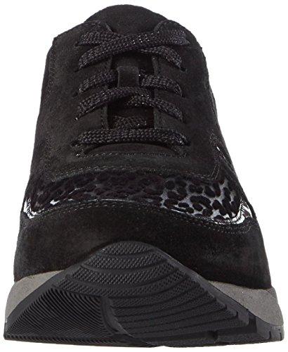 Waldläufer Kimari - Zapatillas para mujer Negro (VELOUR Softlack Leopstretch VELOUR schwarz)