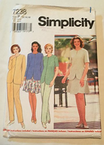 Simplicity 7238 Sewing Pattern Misses Top, Pants and Six Gore Skirt Size P 12,14,16