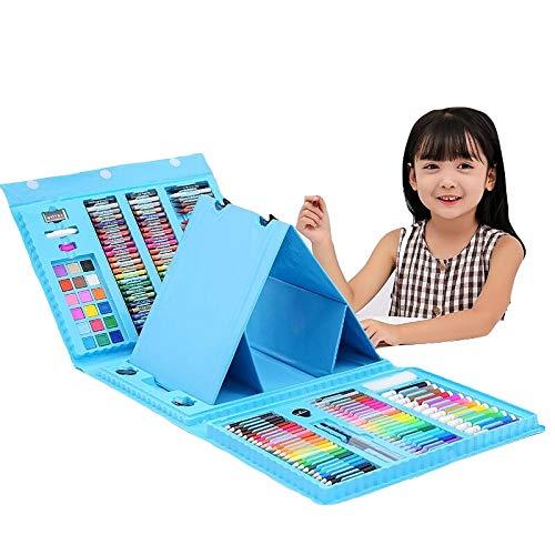 お絵かきセット 色鉛筆 176ピース 絵の具セット 水性色鉛筆 クレヨン カラーサインペン 画板付き 油性色鉛筆 塗り絵 描き用 収納 携帯便利 ペン セット 子供 (ブルー)