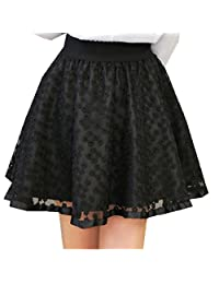 Women's Pleated Elastic Waist Pierced Ball Gown Short Lace Skirts Plus Size