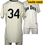 Oswaldo Arcia San Diego Padres Game-Used #34 White Pinstripe Uniform vs Boston Red Sox on September 7, 2016 - Fanatics Authentic Certified