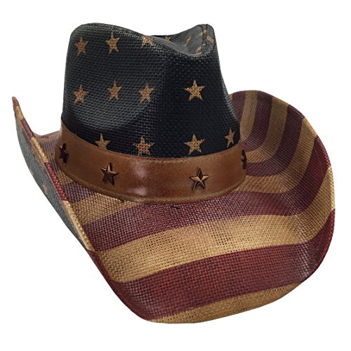 (Men's USA American Flag Cowboy Hat Vintage Tea Stained)