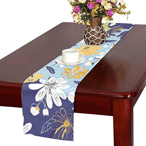 WHIOFE Pastel Blurry Watercolor Painting Style Art Print Rose Daisy Leaves Design Table Runner, Kitchen Dining Table Runner 16 X 72 Inch for Dinner Parties, Events, Decor