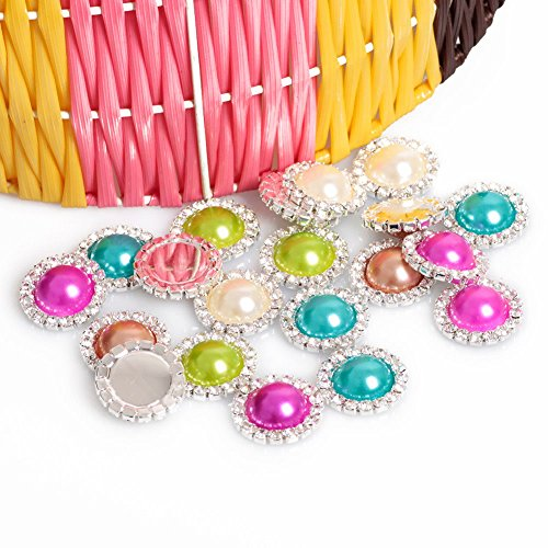 Home Product Hot Sale10pcs/lot Round Metal Rhinestone Diamond Buckle Pearl Button Wedding Embellishment Scrapbooking Flower Center 5colors