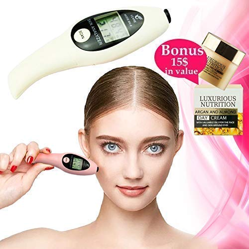 Make Your Skincare More Effective With Compact Digital BIA Test Beauty Exam Facial Analyzer Diagnosis Spa Tool Face And Body Moisture Oil Tester For Healthy Looking Skin + European Facial Cream+E-Book