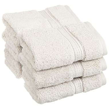 Superior 900 Gram 100% Premium Long-Staple Combed Cotton 6-Piece Face Towel Set, Stone
