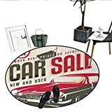Drum Coffee Table for Sale Retro Home Decor Area Rug Nostalgic Car Sale Sign Used Auto Advertising American Style Urban Life Living Dinning Room Bedroom Rugs (51