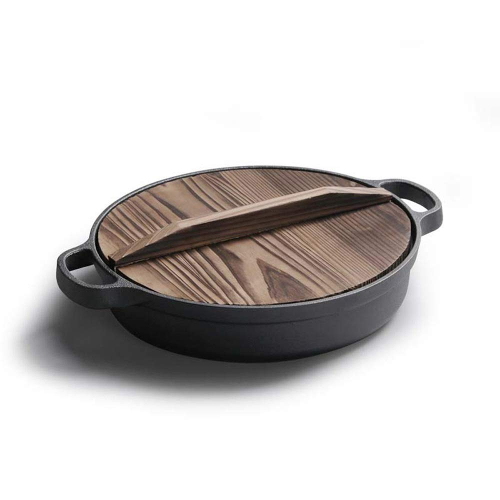 Bac bac Cast iron frying pan|pot|cooking pot|circular double-handle frying pan|uncoated non-stick pan|with wooden lid stockpot|durable and easy to clean without fume induction cooker induction kitchen