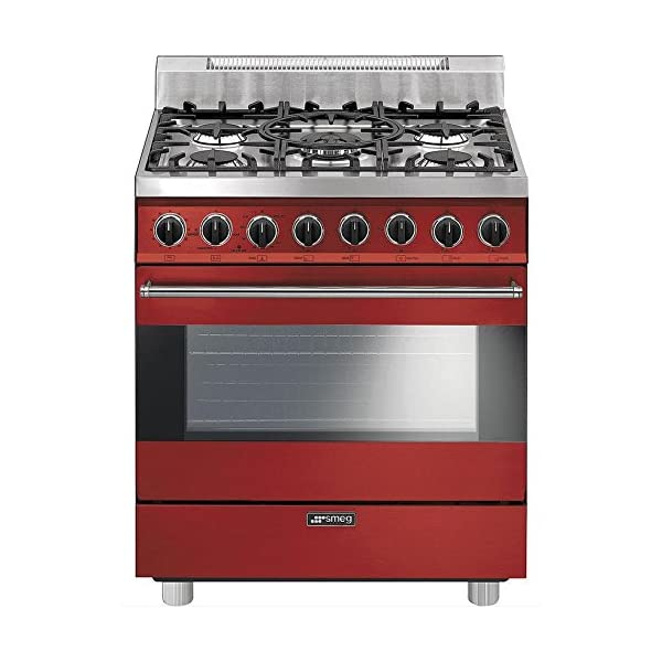 """Smeg C30GGRU 30"""" Free Standing Gas Range with 5 Gas Burners and 3 Cooking Modes, Red 1"""