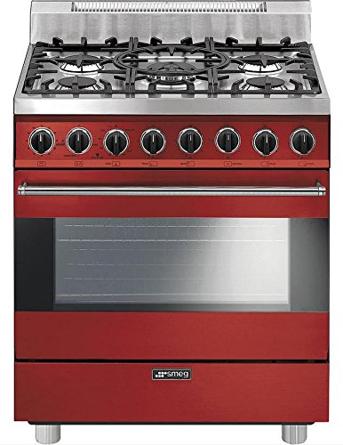 "Smeg C30GGRU 30"" Free Standing Gas Range with 5 Gas Burners and 3 Cooking Modes, Red"