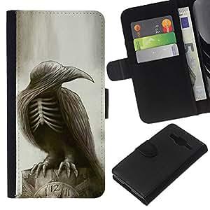 JackGot ( Gótico Cuervo Cráneo Esqueleto ) Samsung Galaxy Core Prime la tarjeta de Crédito Slots PU Funda de cuero Monedero caso cubierta de piel
