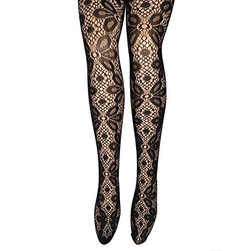 Bienna Lady's Women's Black Sexy Fishnet Jacquard Pattern Pantyhose