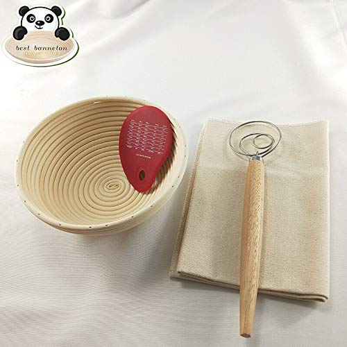 Best Quality - Pastry Blenders - Best banneton bread fermentation basket 9 inch Round Indonesia rattan Bread bowl set combination - by Tini - 1 PCs by HIBISCUS. (Image #3)