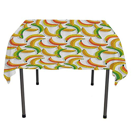 Vintage, Waterproof Table CoverRetro 80s Fruit Fashion Banana Pattern Funky Hipster Illustration, Dinning Tabletop Decoration, 54x54 Inch Yellow Orange and Lime Green