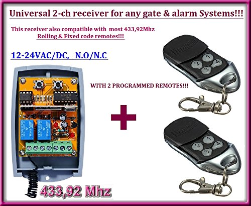 Universal 2-channel Rolling / Fixed code 12 - 24 VAC/DC receiver + 2 ALREADY PROGRAMMED REMOTE CONTROLS!!! N/O - N/C, 433,92Mhz. FOR ANY GATE AUTOMATION OR ALARM SYSTEMS!!!