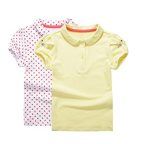 UNACOO Toddler Girls Pure Cotton Short Sleeves Polo Shirt with Picot Collar (6/7T, red dots+Yellow) by UNACOO