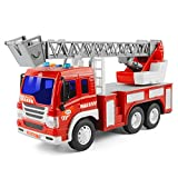 GizmoVine Toys for 2 Years Old Boys, Friction Powered Fire Rescue Ladder Truck, Inertial Vehicles Gift Construction Toy Cars for Toddlers & Kids