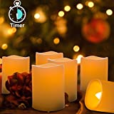 #7: Homemory 6PCS Flameless LED Votive Candles with Timer(4H/8H Mode), 400+ Hours Battery Candles, Melted-edge, Warm Glow Light