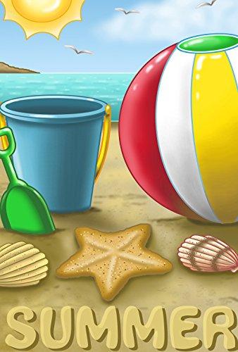 Toland Home Garden Summer Beach Ball 12.5 x 18 Inch Decorative Sea Sun Sand Ocean Seashell Garden Flag