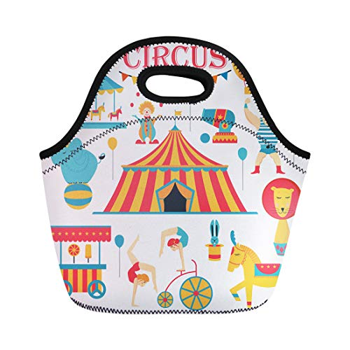 Semtomn Neoprene Lunch Tote Bag Tent Circus Collection Carnival Fun Fair and Colored Acrobat Reusable Cooler Bags Insulated Thermal Picnic Handbag for Travel,School,Outdoors,Work ()