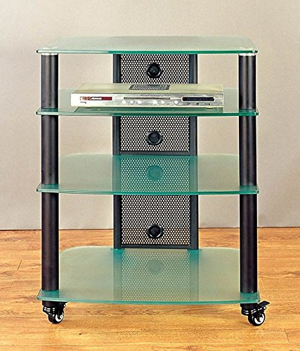 (NGR Series Audio Video Rack in Black w Frosted Glass Shelves)
