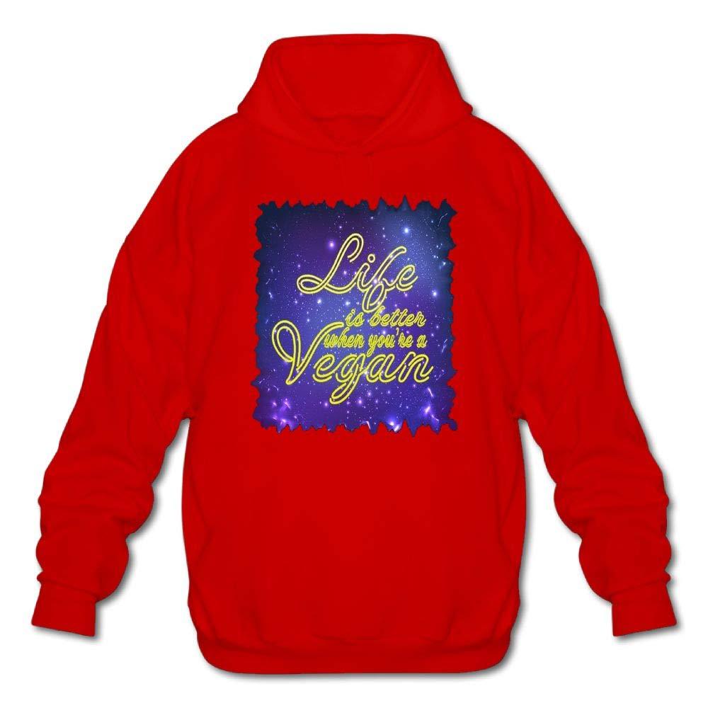 Haoshouru Mens Long Sleeve Cotton Hoodie Life is Better When Youre A Vegan Sweatshirt