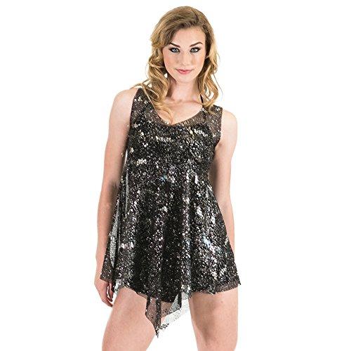 Gia Mia Dance Women's Sparkle Overdress Dance Stretch Mesh Lyrical Jazz Costume Performance Team, Black XL